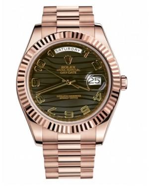 Rolex Day Date II President Rose Or Marron wave Cadran218235 BRWAP