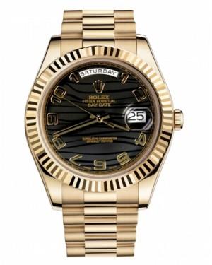 Rolex Day Date II President Jaune Or Noir wave Cadran218238 BKWAP