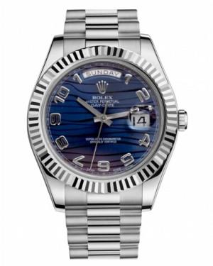 Rolex Day Date II President Blanc Or Bleu wave Cadran218239 BLWAP