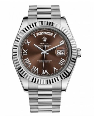 Rolex Day Date II President Blanc Or Marron Cadran218239 BRRP
