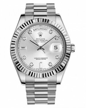 Rolex Day Date II President Blanc Or Argent Cadran218239 SDP