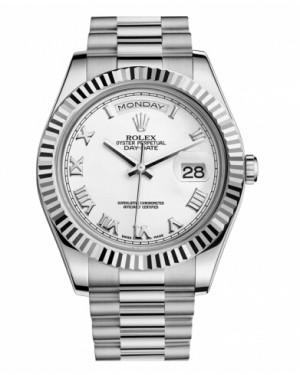 Rolex Day Date II President Blanc Or Blanc Cadran218239 WRP