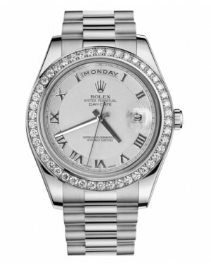 Rolex Day Date II President Blanc Or Et Diamants Ivory concentric circle Cadran218349 ICRP