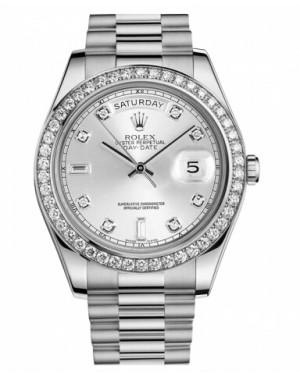 Rolex Day Date II President Blanc Or Et Diamants Argent Cadran218349 SDP