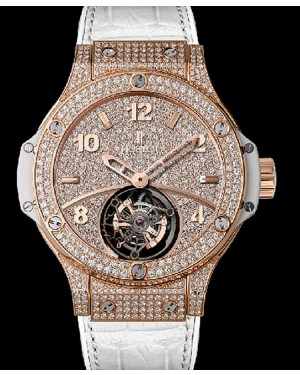 Replique Montre Hublot Big Bang Gold White Tourbillon Full Pave 345.PE.9010.LR.1704