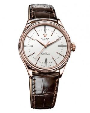 Rolex Cellini Time Everose Gold Blanc Homme 50505