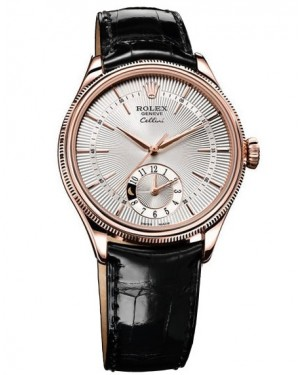 Rolex Cellini Dual Time Everose Gold Argente Homme 50525