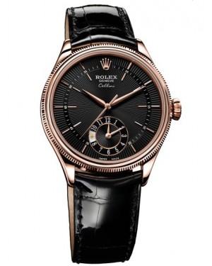 Rolex Cellini Dual Time Everose Gold Noir Homme 50525