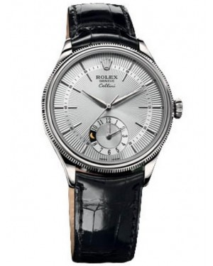 Rolex Cellini Dual Time Or Blanc Homme 50529