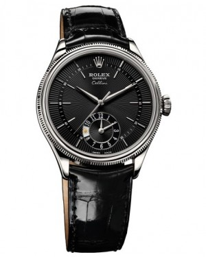 Rolex Cellini Dual Time Or Blanc Noir Homme 50529