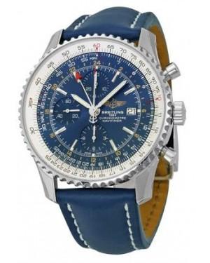 Breitling Navitimer World Automatique Chronographe Bleu Cadran Bleu Cuir Hommes A2432212-C651BLLD