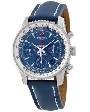 Breitling Montbrilliant Chronographe Bleu Cadran Bleu Cuir Hommes AB0130C5-C894BLLD
